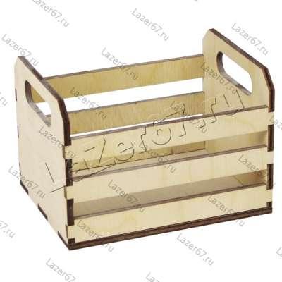 Деревянный ящик-лоток с ручками 13х10х7