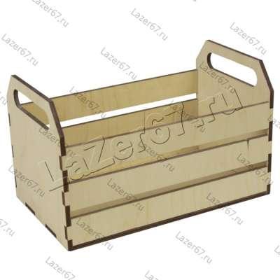 Деревянный ящик-лоток с ручками 25х15х10 см