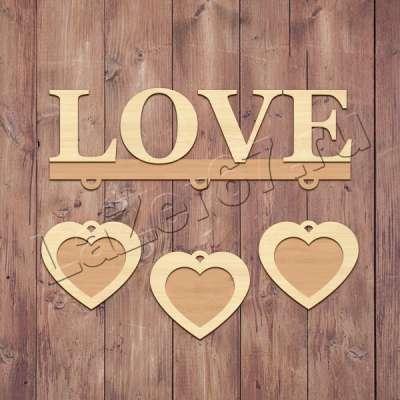 Фоторамка Love с сердечками купить