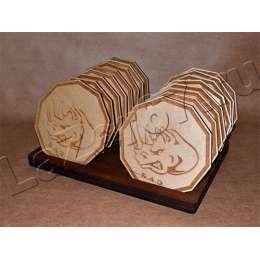 Набор деревянных костеров на подставке